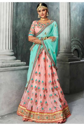 Pink Color Indian Designer Bridesmaid Lehenga Online