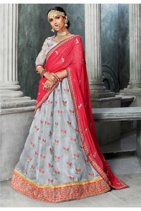 Grey Color Lehenga Choli for Bridesmaid