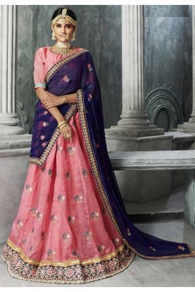 Pink Color Indian Traditional Bridesmaid Lehenga Online
