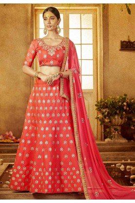 Red Color Designer Lehenga Choli.