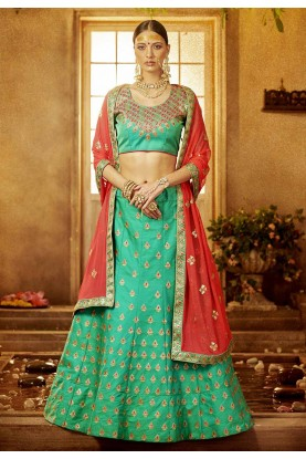 Green Color Silk Lehenga Choli.