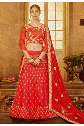 Red Color Bridal Lehenga Choli.