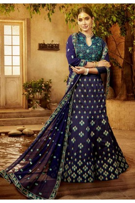 Blue Color Designer Lehenga Choli.