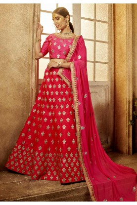 Red,Pink Color Indian Wedding Lehenga.