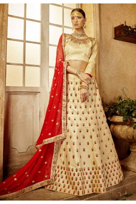 Cream Color Engagement Lehenga Choli.