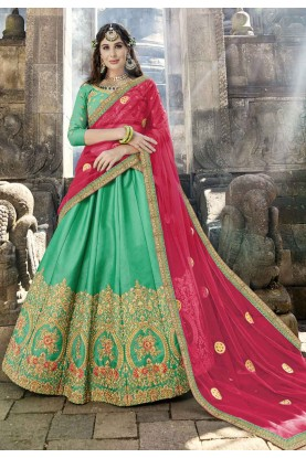 Green Color Traditional Lehenga Choli.