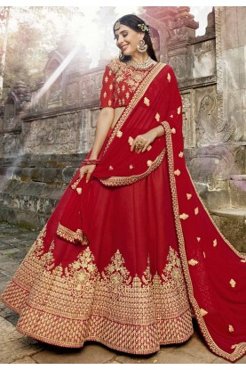 Red Color Bridal Lehenga.