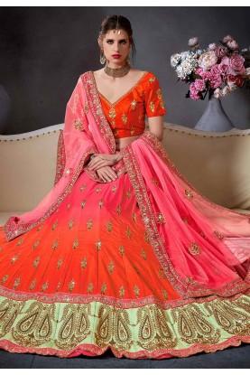 Orange,Pink Color Designer Lehenga.