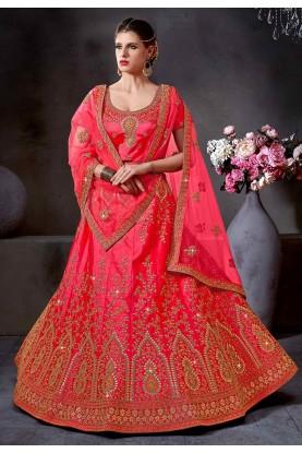 Pink Color Indian Wedding Lehenga Choli.