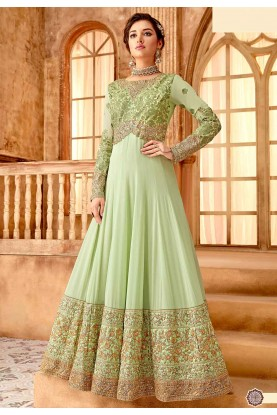 Green Colour Anarkali Salwar Kameez.