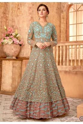 Beige Colour Indian Designer Salwar Suit.