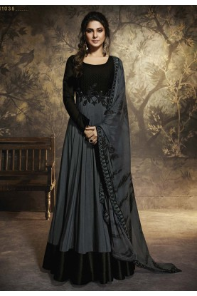Black,Grey Colour Bollywood Party Wear Salwar Kameez.