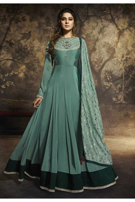 Green Colour Banarasi Silk Anarkali Salwar Suit.