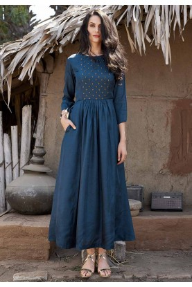 Blue Colour Silk Indian Kurti.