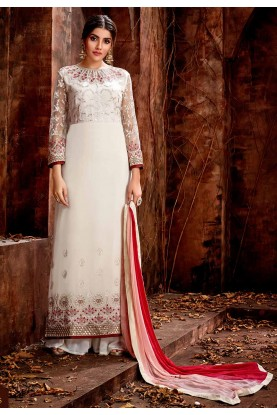 Off White Colour Party Wear Salwar Kameez.