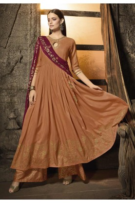 Peach Colour Cotton Palazzo Salwar Suit.