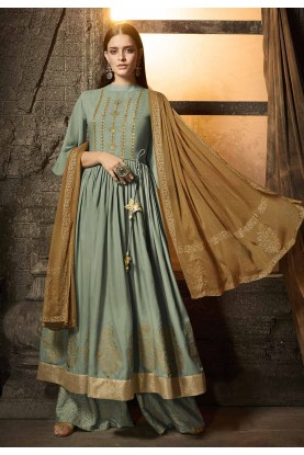 Green Colour Cotton Palazzo Suit.