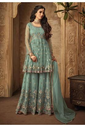 Pista Green Color Designer Sharara Salwar Suit.