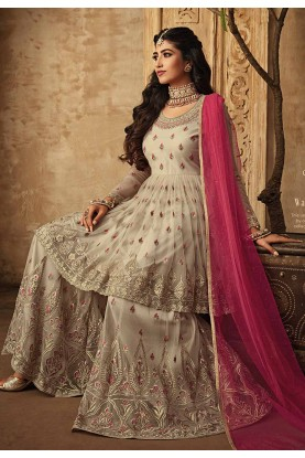 Party Wear Sharara Suit in Beige,Cream Color.