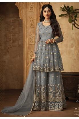Grey,Blue Color Designer Sharara Suit.