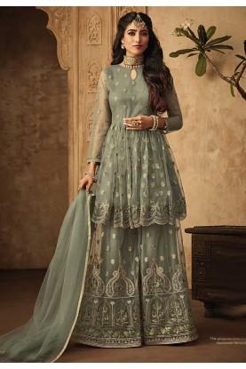 Green Color Indian Designer Sharara Suit.