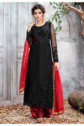 Black Color Net Party Wear Salwar Kameez.