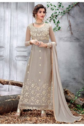 Light Grey Color Designer Salwar Kameez.