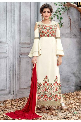 Beautiful Designer Salwar Suit in Off White Color.