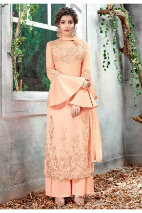 Peach Color Silk Designer Long Suit.