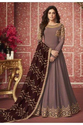 Brown Colour Georgette Salwar Suit.