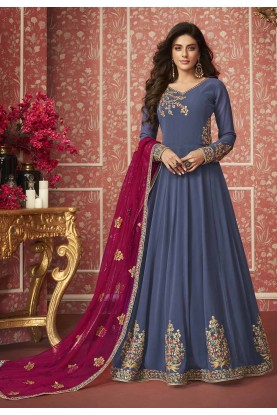 Indian Designer Salwar Suit in Blue Color.
