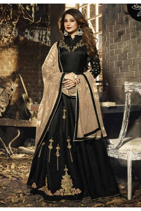 Silk Party Wear Salwar Suit in Black Colour.