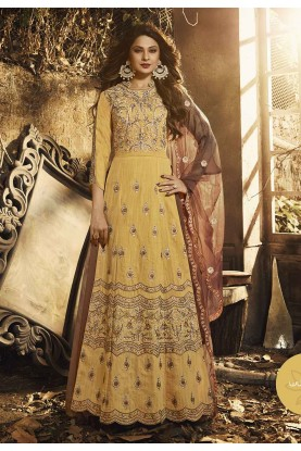 Gold,Yellow Colour Indian Designer Salwar Suit.