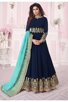 Blue Colour Party Wear Salwar Kameez.