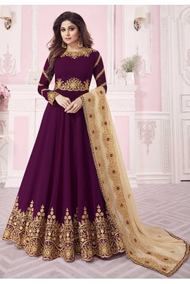 Wine Colour Anarkali Salwar Kameez.