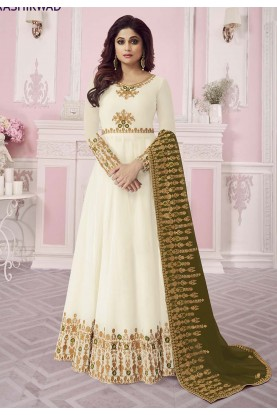 Off White Colour Georgette Salwar Suit.