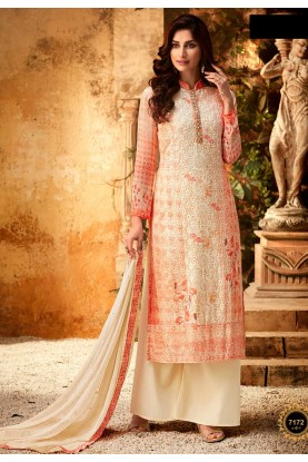 Off White,Peach Colour Designer Salwar Suit.