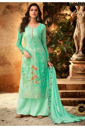 Green Colour Party Wear Palazzo Suit.