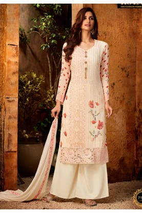 Pink,Off White Colour Palazzo Salwar Suit.
