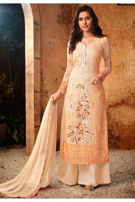 Party Wear Palazzo Suit in Peach Colour.