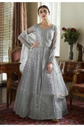 Grey Colour Satin,Net Fabric Anarkali Suit.