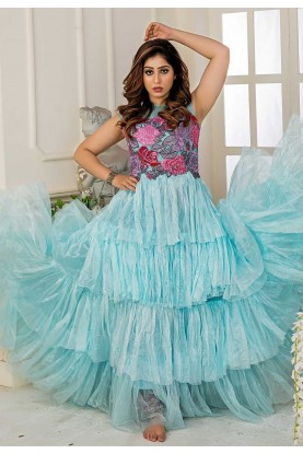 Turquoise Colour Readymade Gown.