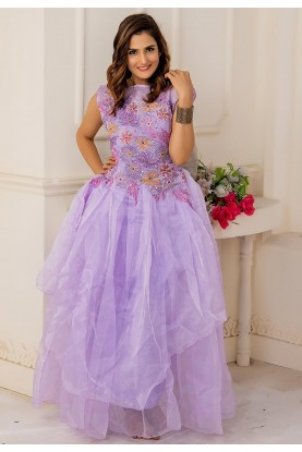 Purple Colour Designer Readymade Gown.
