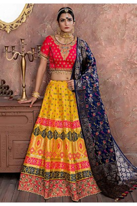 Yellow Colour Indian Traditional Lehenga Choli.