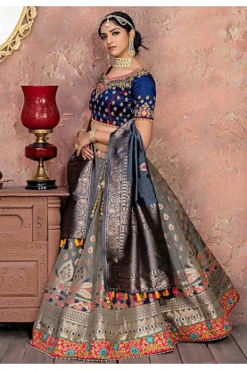 Grey Colour Banarasi Silk Lehenga Choli.