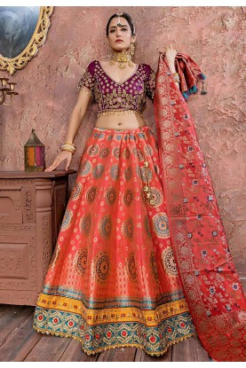 Pink Colour Banarasi Silk Lehenga Choli.