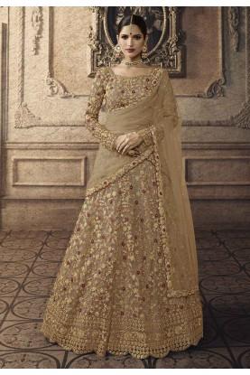 Brown,Golden Colour Wedding Lehenga Choli.
