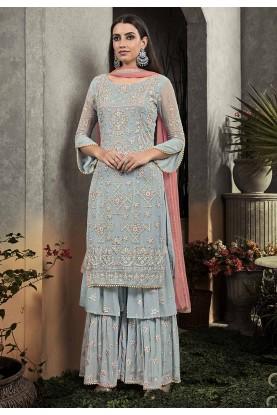 Silver,Grey Colour Georgette Salwar Suit.