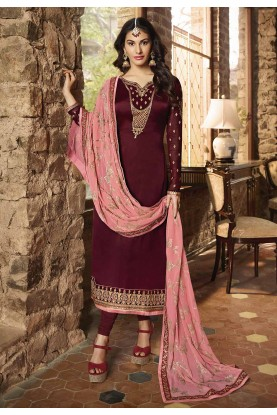 Maroon Colour Indian Designer Suit.