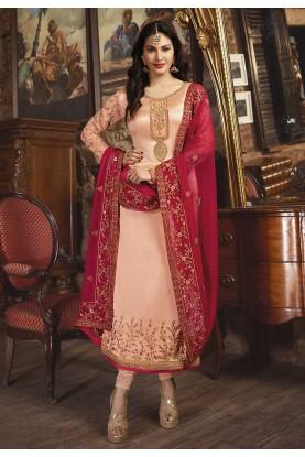 Peach Colour Georgette Designer Salwar Kameez.